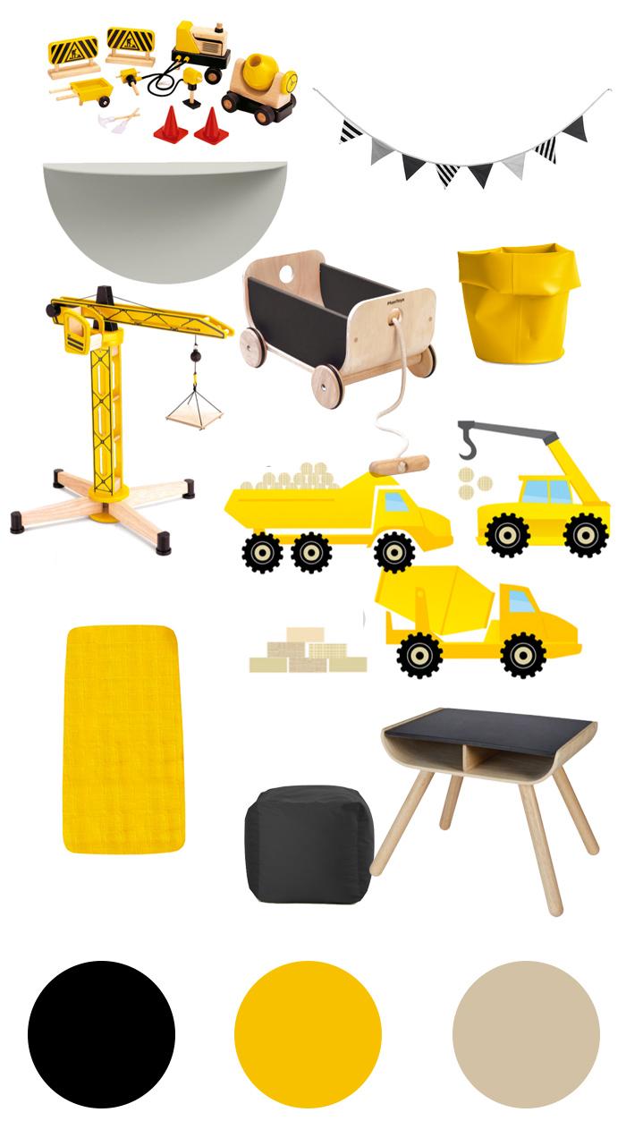 Ein Baustellen-Zimmer in schwarz und gelb – sanvie|mini